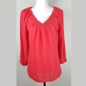 Willi Smith Blouse SZ M 3/4 Sleeve V Neck Career